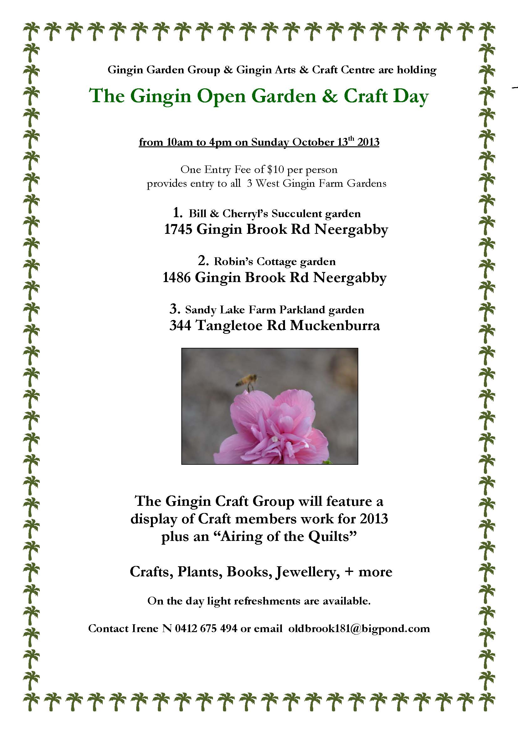 Gingin Garden Day 2013 flyer
