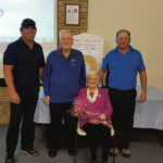 Left to right: Paul Fewster (runner-up Wallace Shield), Norm Wallace, June Wallace and Reg Caldwell (winner Wallace Shield)