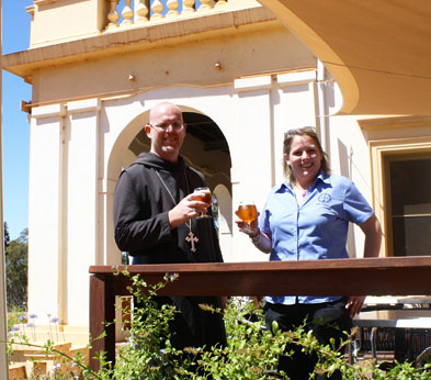 Abbot John Herbert and Nicky White enjoy an Abbey Ale at the New Norcia pub