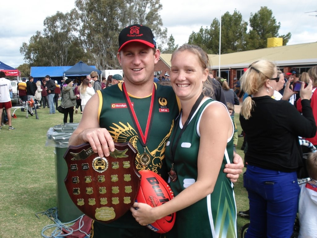 Photo is of  Aaron Crofts and his wife Lauren when they both won the Grand Finals  on Sunday.